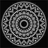 Tribal folk round Aztec geometric pattern on black