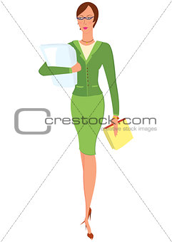 Cartoon woman in green suit holding papers