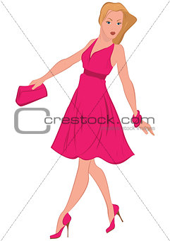 Cartoon woman in pink dress walking