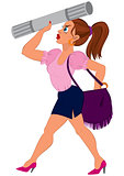 Cartoon woman in pink top and blue skirt with purple bag