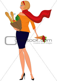 Cartoon woman in red scarf with shopping bag and flowers