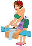 Cartoon woman in red slippers ironing