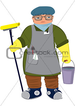 Cartoon woman in yellow gloves  with floor mop