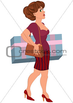 Cartoon woman with big box in striped skirt