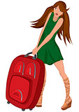 Cartoon young woman green dress and red suitcase