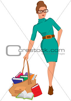 Cartoon young woman holding big bag full of books