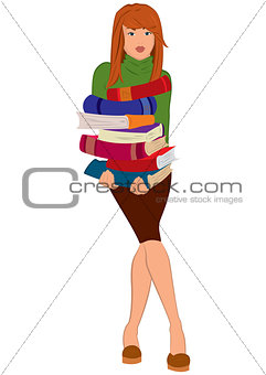 Cartoon young woman holding stack of books