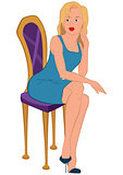 Cartoon young woman in blue dress sitting on purple chair