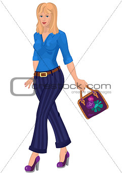 Cartoon young woman in blue pants with purple bag
