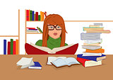 Cartoon young woman in glasses sitting and reading books