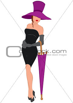 Cartoon young woman in mini black dress with umbrella and hat