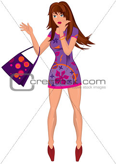 Cartoon young woman in mini purple dress with bag