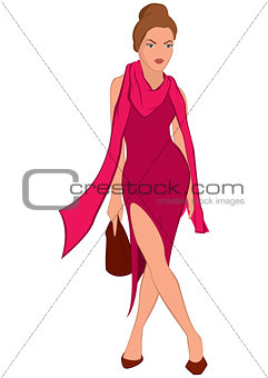 Cartoon young woman in pink dress and pink scarf