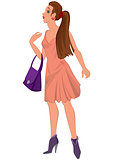 Cartoon young woman in pink dress and purple bag