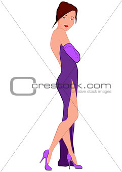 Cartoon young woman in purple evening dress with open back