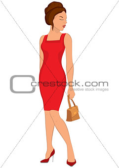 Cartoon young woman in red dress and closed eyes