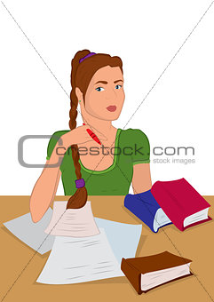 Cartoon young woman in sitting and writing