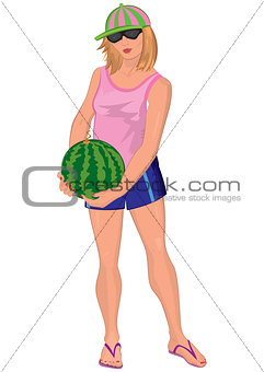 Cartoon young woman in sunglasses with watermelon