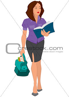 Cartoon young woman reading book and holding bag