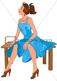 Cartoon young woman sitting on brown bench in blue dress