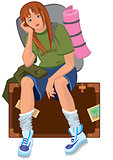 Cartoon young woman sitting on brown suitcase with backpack
