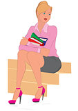 Cartoon young woman sitting on the stairs holding books
