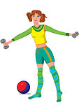 Cartoon young woman working out