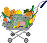 Grocery store shopping cart with food items and fish