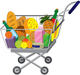 Grocery store shopping cart with food items