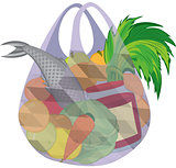 Plastic transparent shopping bag full of fruits vegetables and f
