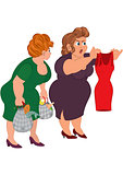 Two fat cartoon women looking on small red dress