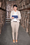 Pretty warehouse manager using tablet pc