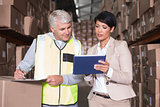 Pretty warehouse manager talking to foreman