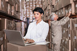Pretty warehouse manager using laptop