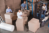 Warehouse workers preparing a shipment