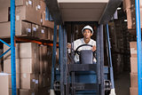 Forklift driver operating the machine