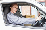 Delivery driver smiling at camera in her van