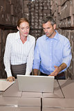 Warehouse team working together on laptop