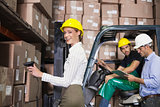 Warehouse team working during busy period