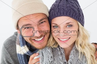 Attractive young couple in warm clothing