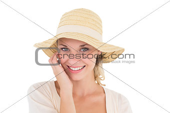 Attractive young woman wearing sun hat