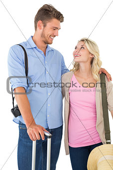 Attractive couple ready to go on vacation