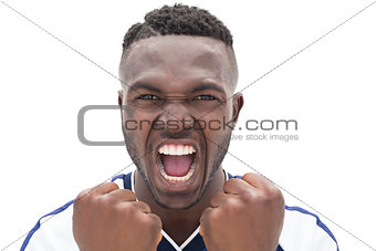 Close up of a football player shouting