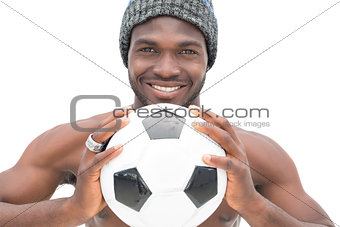 Close up portrait of a smiling football fan