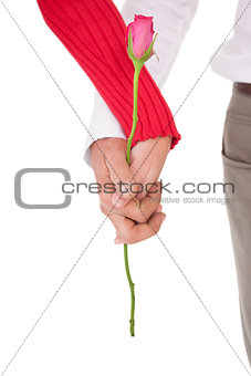 Close up of hands holding rose