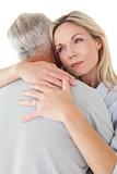 Close up of mature couple embracing