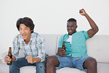 Soccer fans cheering while watching tv