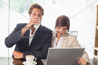 Business colleagues working on their break