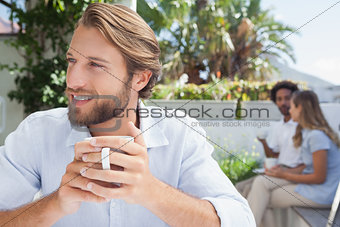 Thoughtful man having a coffee