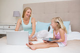 Cute little girl and mother on bed using tablet and laptop